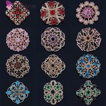Wholesale 12 Pieces Mixed Crystal Diamante Silver Plated Rhinestone Flower Brooch Pins for Women or Wedding