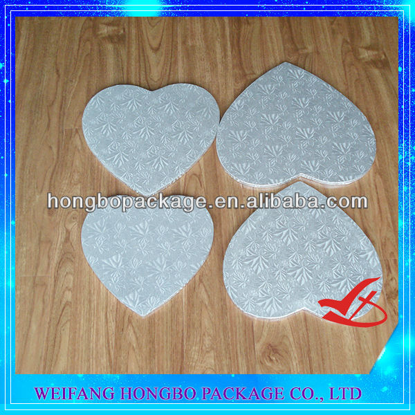 heart shaped silver foil corrugated cake drums