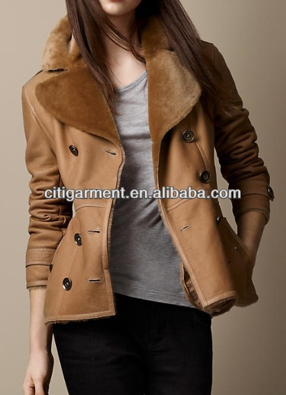 Short Shearling Trench Coat for lady