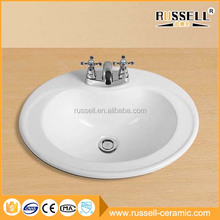 Above counter exquisite portable ceramic simple oval mini lavabo
