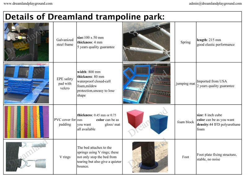ASTM standard commercial indoor large trampolines with foam pit