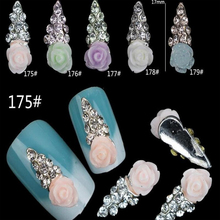 3D flower shape rhinestones nail decoration #1449