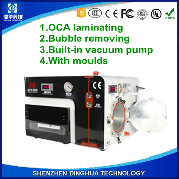 Dinghua newest design 5in1 OCA vacuum lamination machine+ air bubble removing+moulds