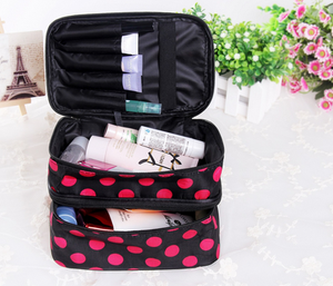 Wholesale Promotional double compartment Polka Dot cosmetic box double-deck makeup case