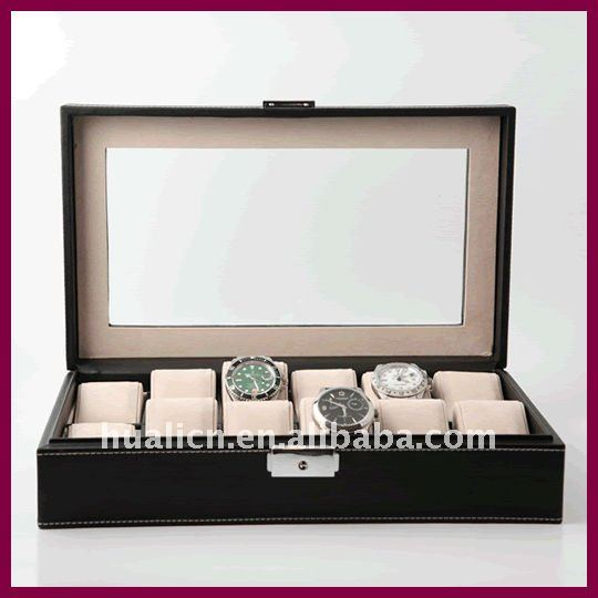 high grade 12 watch display box travel case faux leather