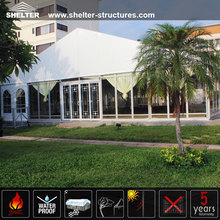 Durable long life span glass door canopy tent with lining and curtains decorations for sale