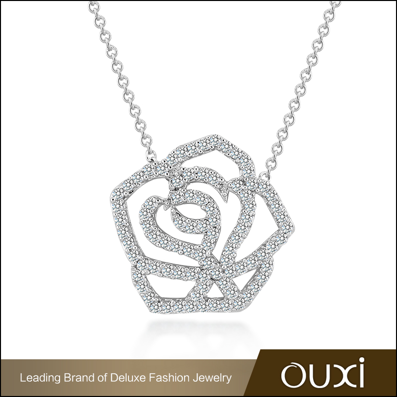 OUXI Brand Jewelry wholesale high quality micro paved AAA zircon rose charm pendant necklace