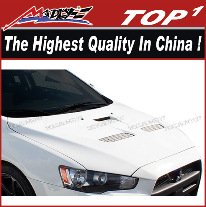 FRP Hood for 2008-2015 Mitsubishi Lancer/Lancer Evolution 10 Duraflex Evo X Look Hood for Lancer Evolution