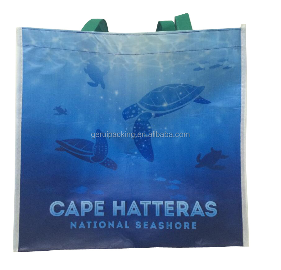 China supplier fancy eco-friendly laminated RPET shopping bag with logo printed