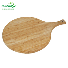 Custom paddle-shaped bamboo cutting board pizza peel with short handle