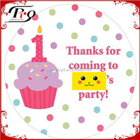 1st birthday cupcake girl's personalized party stickers