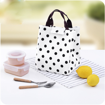 High quality customized logo polka dot white portable insulated collapsible cooler bag for frozen food