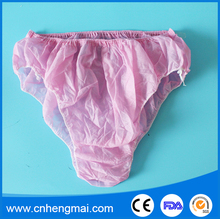 Beauty Spa Hospital Disposable Nonwoven Female Panties White Pink Color Lady Underwear Non Woven Pant with Elastic