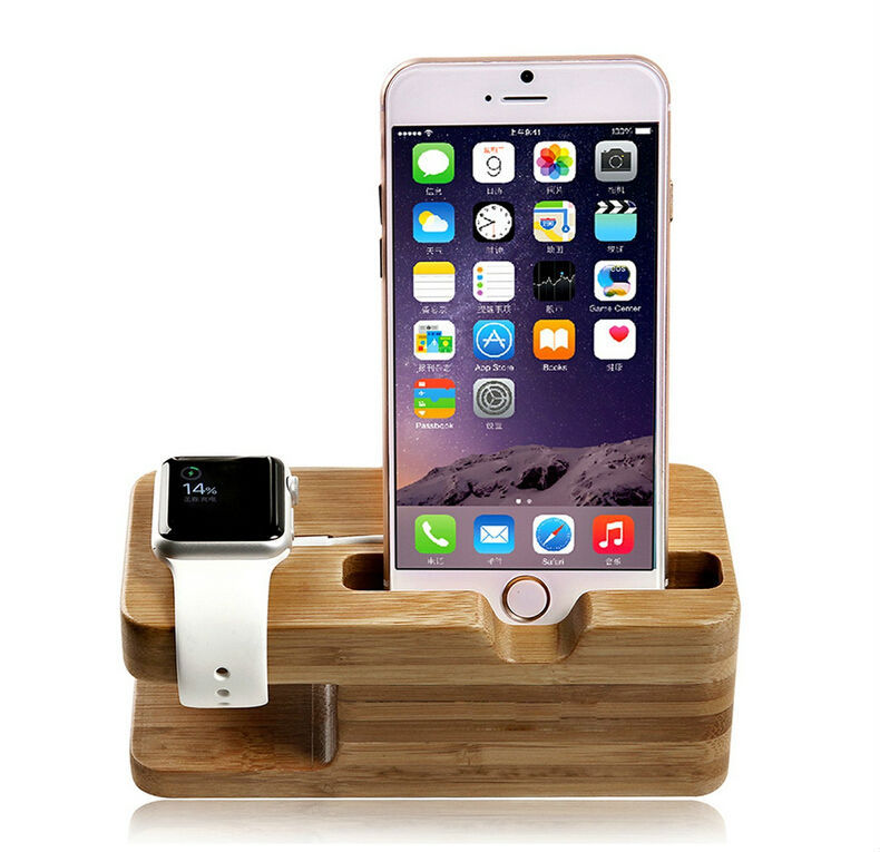 Covery Wood Mobile Phone holder 2 in 1 Creative Stand for Apple Watch for iPhone Bamboo Watch Display Dock