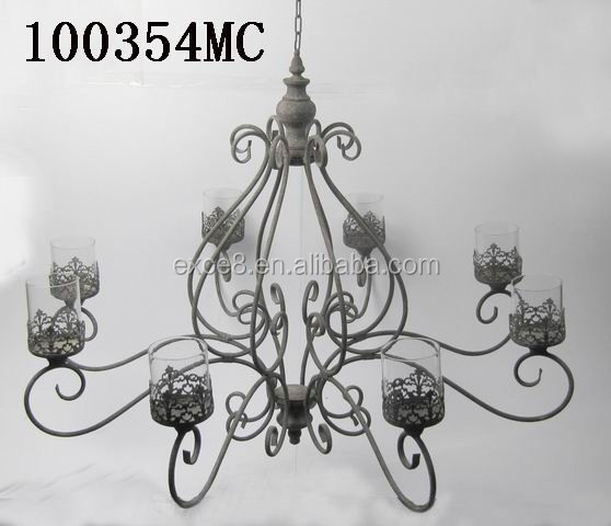 100354MC Antique wedding decorative large hanging metal candelabra for bar decoration