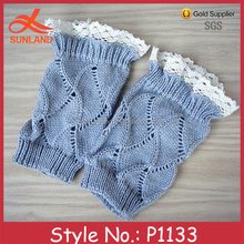 P1133 gray girls' crochet cable knit lace trim boot cuffs toppers