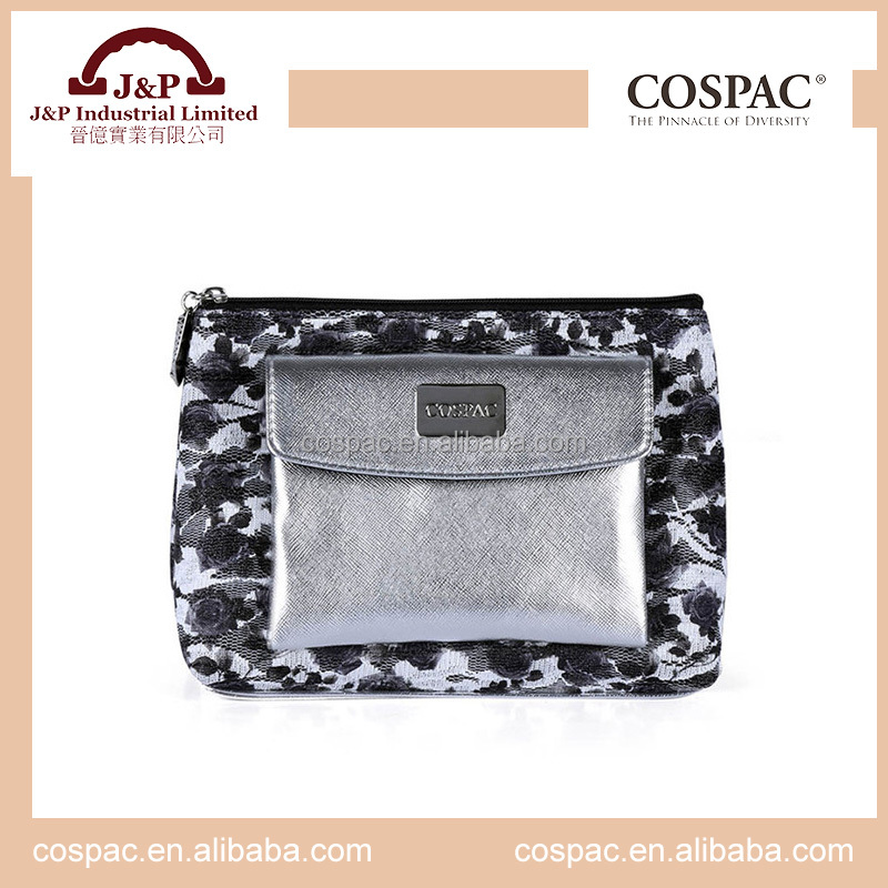 Fashion ladies sparkling flower pattern lace soft cosmetic case bag