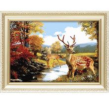 Hot sale canvas diy animal menglei oil painting by numbers