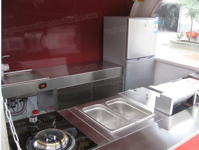 Grand espace en acier inoxydable de luxe rue caf panier for Remorque cuisine mobile