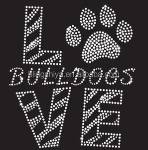 Love Bulldogs Pawprint Rhinestone Applique Iron On Transfers