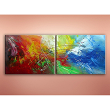 JC Promotional 2 Pieces Group Abstract Living Room 100 Hand Painted Oil Painting On Canvas HP-18