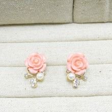 Pink Rose Flower Shiny Crystal Rhinestone Pearl Stud Earrings