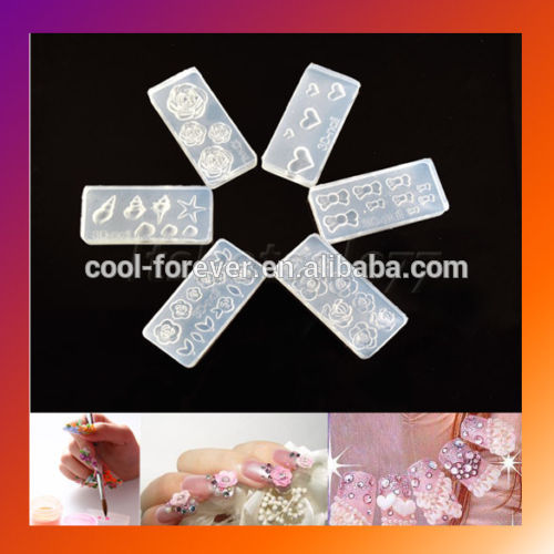 2016 popular practical silica gel material nail 3D mold for DIY nail decoration
