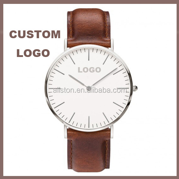 classic Ultra thin watch custom your own logo leather/nylon watch strap plated interchangeable nato strap watch