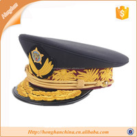 Black with gold embroidered german military army hat