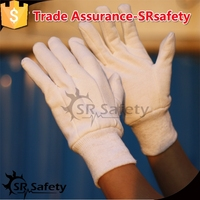 SRSAFETY 100% bleached cotton cotton interlock, three seams on back with mini PVC dots, working gloves
