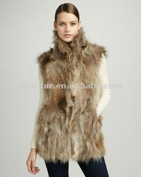 2015 women fashion Long Raccoon Dog Fur Vest, Natural