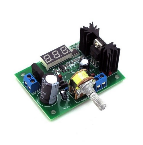 DC Buck Step Down Converter Module LM317 Voltage Regulator LED Voltmeter 12V 24V DC:0-30v Output: DC 1.25-30V