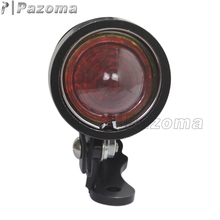 Pazoma Universal 12V LED Red Plastic Black Custom Bullet Aluminum Tail Lights For Harley Choppers