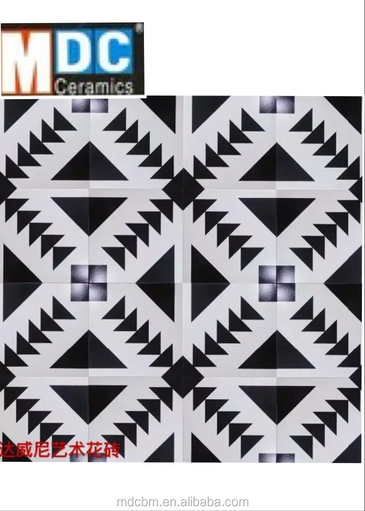 black and white glazed cement tiles for hot sale 300*300mm from foshan MDC building material company