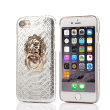 2016 New Products Retro Snake Skin Lion Head Ring Stander Hard PC Mobile Phone Case for iphone 6 6plus