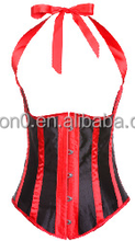 Hot Sale Satin Stripe Halter Vintage Corset With Thong Kit
