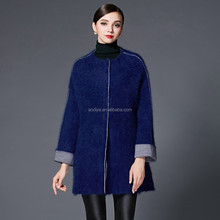 2016 Fashion Angora / Nylon Women Crew neck Winter Inside Buttons Cardigan Sapphire Long Sleeve New Design Sweater Knitwear