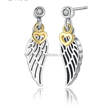 Angel wings with Gold Color Hearts 925 Sterling Silver Clear CZ Drop Earrings