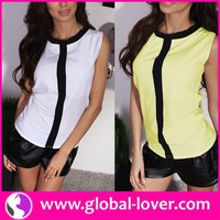 2016 ladies wholesale elegant sleeveless summer casual tops clothing
