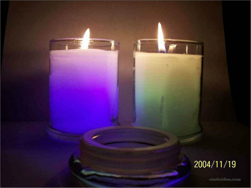 Led candle in glass