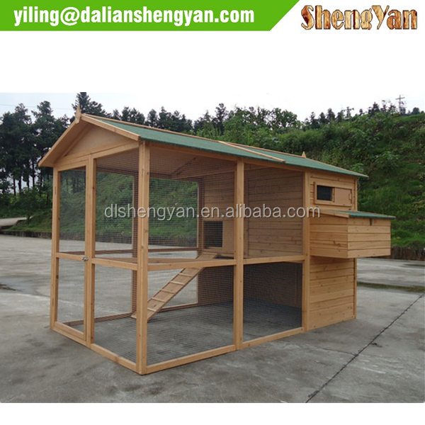 Large Wooden Chicken Pet Coop with Run Area and Nesting Egg Box