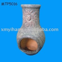 Outdoor chiminea with stand terracotta fire pot