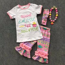 1-7T new ARRIVAL baby Ester day egg outfit girls SUMMER/SPRING clothes short sleeves Aztec RUFFLE outfits with Accessories