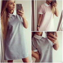 F40087A New style doll collar casual short sleeve women clothing dress