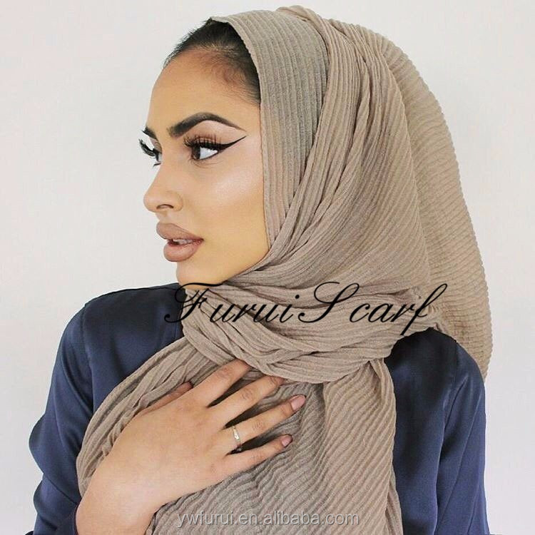 2017 New Design Nice Plain Pleated Solid Color Wrinkle Hijab Viscose Scarf woman hijab 180*90CM Big Size Scarves Wraps