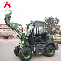 Small construction handling tractor front end loader