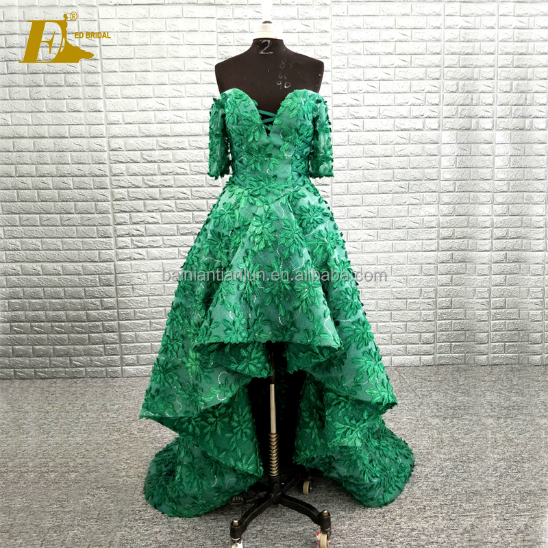 Sexy Off Shoulder Design Short Front Long Back Green Evening Prom Dresses
