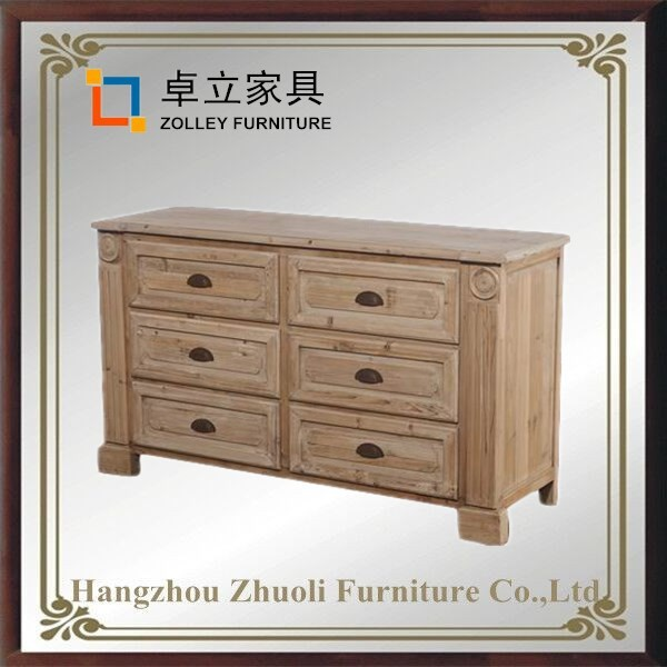 Classical style factory dirctly sale 6 drawers solid wood storage cabinets shop cabinet commercial