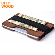 promotion wood slim wallet money clip with credit card holder