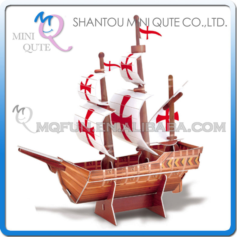 Mini Qute Mini Santa Maria Ship building blocks 3d paper puzzle model cardboard jigsaw puzzle game educational toy NO.B668-23